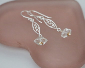 Herkimer Diamond Earrings, Herkimer Diamond Crystal Earrings, Herkimer Diamond Quartz Long Dangle Two-tone Earrings Raw Crystal