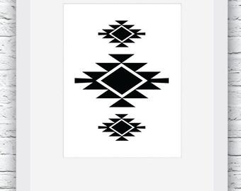 Southwestern Print, Black and White,  Navajo Print, Printable Wall Art, Aztec Print, Tribal Pattern Print, Geometric Art, Geometric Print