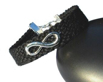 """Cuff friendship bracelet, model """"Infinity"""", black"""
