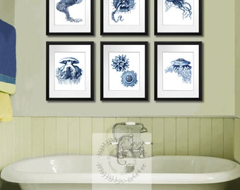 Beach decor Navy decor Jellyfish Print Set of 6 Sea life art print 8x10 Coastal Decor Bathroom Wall Art,  Bathroom decor