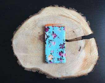 Mens floral pocket square | blue floral pocket square | floral handkerchief | blue floral pocket square | blue floral handkerchief