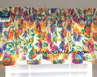 Rainbow Sunflowers Curtain Floral Curtain Pretty Valance Classroom Curtain Schoolroom Curtain Window Treatment Idaho Gallery