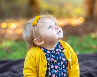Baby Mini Bow Nylon Headband or alligator clip