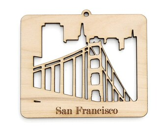 Golden Gate Bridge - San Francisco Ornament - from Timber Green Woods. Sustainable Harvest Wood. Made in the USA!