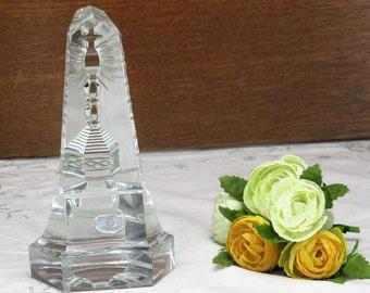 Val St Lambert Crystal Paperweight Trylon Obelisk Chalice Rare Belgium Lovely