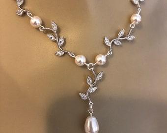 Wedding Necklace Rhinestone Vine and Pearl Bridal Necklace