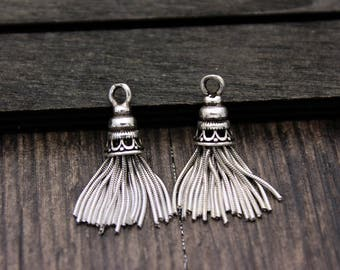 1PC- Sterling Silver Tassel Charm,Sterling Silver Chain Tassel Pendant,Tassels for earrings for necklace,Tassel jewelry