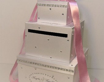 Wedding Card Box White and Light Pink Gift Card Box Money Box Holder--Customize your color