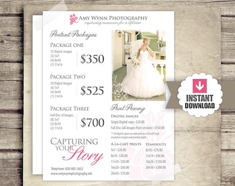 Wedding Photography Price List - Session Packages Pricing Sheet - Wedding Packages Prices - INSTANT DOWNLOAD - Photography Marketing Form