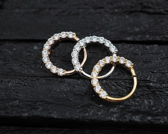 CZ diamond horizontal eternity hoop Daith earring / Cartilage / Septum ring / Nose ring
