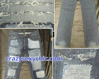 Distressed and Totally Patched Jeans Women's size 12
