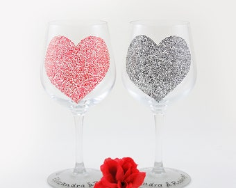 Wedding, Anniversary, Valentine personalized wine glasses - Set of 2 - Sweetheart Collection