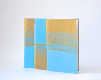 Sky Blue and Gold Hand Bound Notebook, Hand Painted Blue Journal, Quick Notes Journal