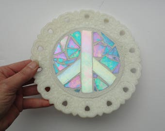 Stained Glass Mosaic, Peace Sign, Meditation, Glass Plate, Home Decor, Sculpture, Retro, 60's Symbol, Peace and Love, New Age, Metaphysical,