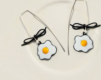 Sterling Silver Poached Eggs Bowknot drop hoop earrings/Contemporary minimal geometric modern style dangle earrings/Gift for her(SN014)