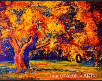 Fall Brunch Original Oil Painting on Canvas 24x20 Landscape Painting Original Art Impressionistic Oil on Canvas by Ivailo Nikolov