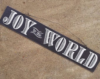 Joy to the World Chalkboard Sign, Rustic Holiday Decor, Christmas Hanging Sign, Hand Lettered Chalkboard Sign