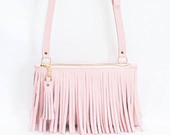 Pink Leather Crossbody - Fringe Purse - Pink Leather Boho Bag - Blush Leather Fringe & Tassel Handbag