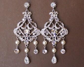 ON SALE Chandelier Bridal Earrings, Crystal & Pearl Bridal Earrings, Bridal Chandelier Earrings, Statement Earrings,  Wedding Jewelry