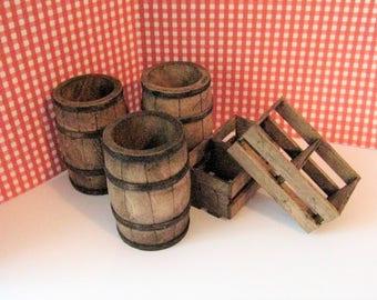 Dollhouse Barrels,Crates, , Dark oak , bar, pub barrels, farm barrels, miniature barrels.,   twelfth scale, a dollshouse miniature