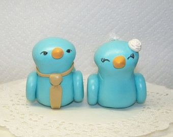 Bird Wedding Cake Topper Birds Light Teal and Champagne- Fully Customizable