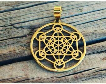 Metatron cube Pendant Sacred Geometry Pendant Yoga jewelry Brass pendant