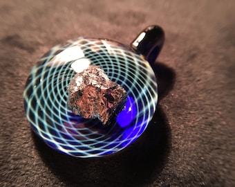 Silver Fumed Sacred Geometry Inspired Fumicello Pendant w/ Chunky Space Rock!  - Heady Boro Pendant