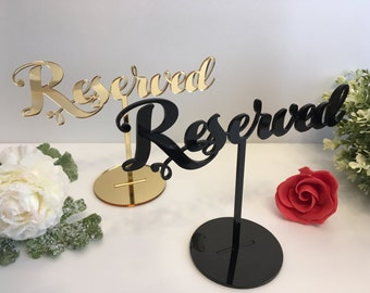Reserved Table Sign Reserved Seating Reserved Sign for Weddings Freestanding Acrylic Reserved Gold Wedding Sign Reception Custom table signs