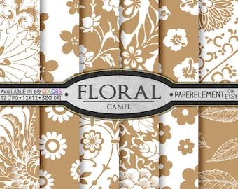 Camel Tan Floral Digital Scrapbook Paper Pack - Printable Flower Backgrounds - Instant Download