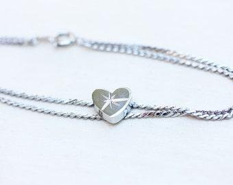 Heart Bracelet Silver, Silver Chain Bracelet, Heart Bracelet, Chain Bracelet