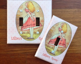 Alice in Wonderland light switch cover Personalized girls room // SAME DAY SHIPPING**