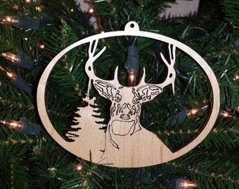 Cerf cerf cerf Noël ornement vacances décoration Laser découpe de bois rustique