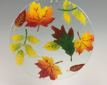 Fall Leaves Suncatcher, Fall Foliage, Leaves, Window Hanging, Large Sun Catcher, Oak Leaves, Maple Leaves, Fall Decor