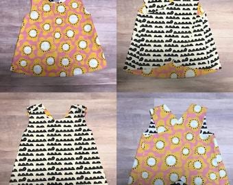 Retro Mod Reversible Crossover Pinafore Dress - Baby Girl - Black Pink Yellow - Cream - Dots - Scallops