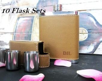 Personalized Groomsmen Gift, 7 Engraved Flasks, Groomsmen Flasks, Set of 10 Personalized Leather Groomsman Flask Set, Lid & 3 Shot Glasses