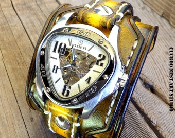 Yellow and Brown Leather Watch Cuff, Men's watch, Leather Wrist Watch, Custom Leather Cuff