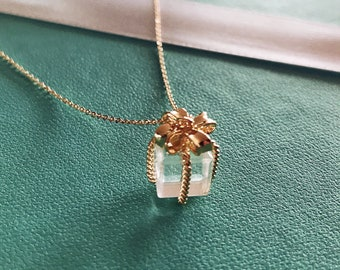 Grand Opening Sale, Ribbon Gift Box | 16 Gold Plated Charm Necklace | Gold Filled Chain
