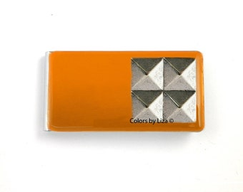 Studs Money Clip inlaid in Hand Painted Enamel Orange Opaque Geometric Inspired with Personalized and Assorted Color Options