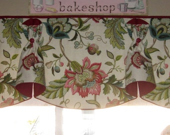 "Custom Rod Pocket Valance BUNNY NO EARS Hidden Rod Pocket® Valance fits 67""- 86"" window, constructed using your fabrics, my labor and lining"