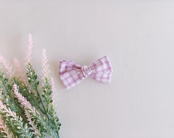 purple gingham schoolgirl bow / hand-knotted bow / baby girl headband / girls accessories / infant headband / spring hand tied bow