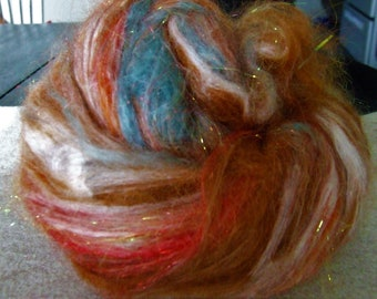Alpaca, Teeswater Locks, Llama Silk Blend Hand Dyed