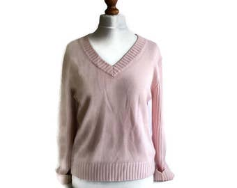 90s Vintage Pink Sweater, Vintage Womens sweater, Pink jumper, Pastel pink sweater, Vneck sweater, Knitted sweater, Knitted jumper, Size L