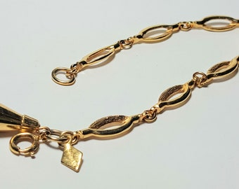 Vintage Sarah Cov Bracelet Sarah Coventry Costume Jewelry Gold Chain Links/Linked Bracelet with Bell Pendant and Elliptical Shaped Links