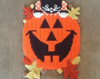 Handmade Finished Halloween Cat Pumpkin Holiday Wall/Door Hanging
