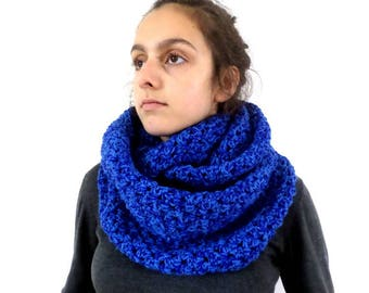 Snood mottled blue oversized wool