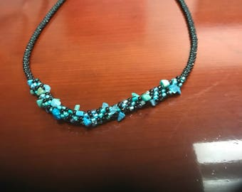 Kumihimo Turquoise and Black Beaded Necklace