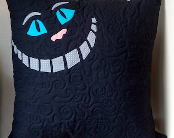Alice in Wonderland, Cheshire Cat, Decorative Pillow, Art Quilted Pillow, Patchwork, Applique, Handmade, Home Decor