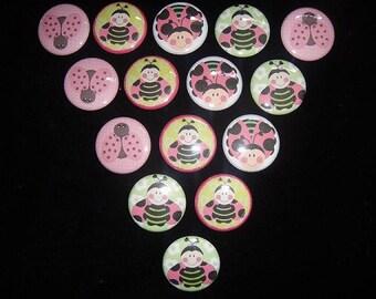 Pink Ladybug Buttons Set of 15