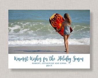 Warmest Wishes Christmas Card,Beach Christmas Card with Photo, Minimalist Christmas Card,Minimalist Christmas Card with Photo,Christmas Card