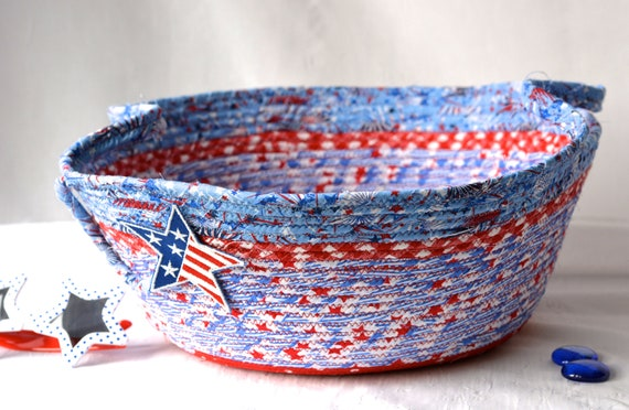 Summer Home Decor, Patriotic Basket, Handmade Red White and Blue Party Bowl, Chip Bowl, Veteran Gift Basket, 4th of July  Decoration